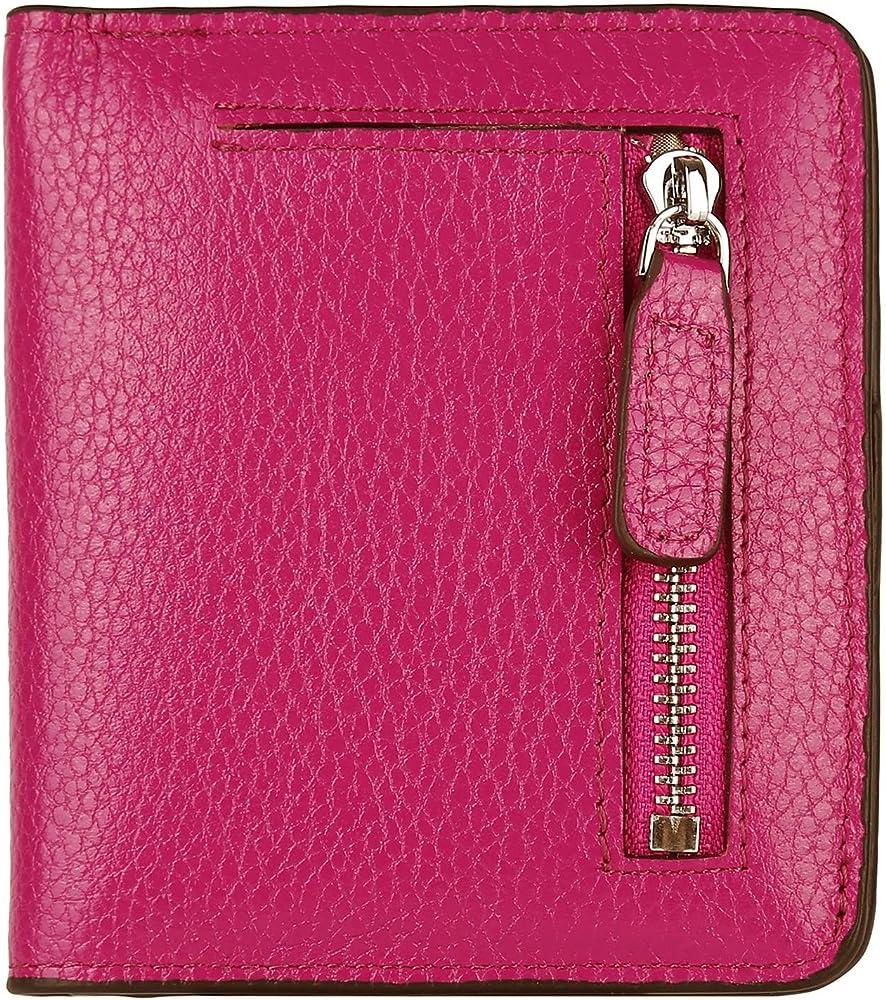 jinshang portafoglio da donna piccolo compatto in pelle rosso - s
