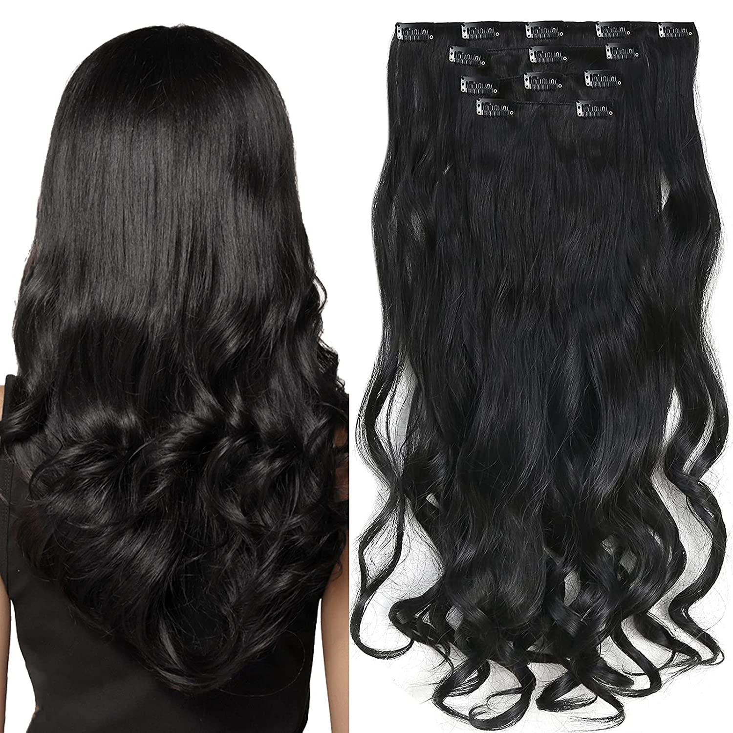 Clip in Hair Extensions 4 Pieces 22 Wave Long Dealing Los Angeles Mall full price reduction Inch Dark Curly Bl