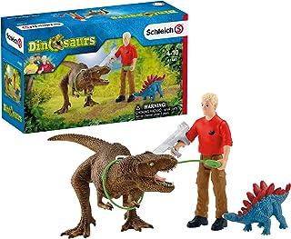 Schleich Toy Tyrannosaurus Rex Attack 5-Piece Dinosaur Playset for Kids Ages 4-12