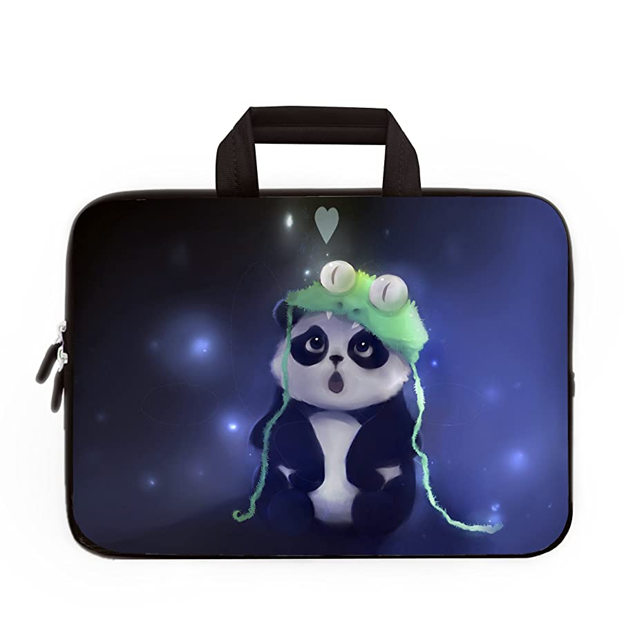 11 11.6 12 Inch Multi-Color Water-resistant Laptop Sleeve Bag with Handle/Notebook Computer Case/Ultrabook Briefcase Carrying Bag (Cute Panda)