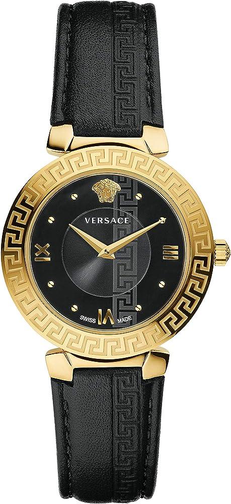 Versace daphnis damenuhr,orologio per donna,in acciaio placcato oro giallo e cinturino in vera pelle V16050017