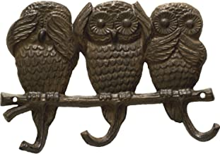 Cast Iron Wall Hook/Hanger - Owls - See No Evil, Hear No Evil, Speak No Evil