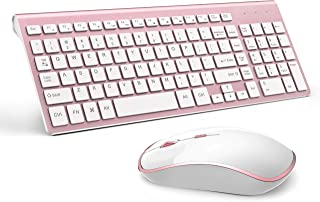 Wireless Keyboard and Mouse Combo, Stylish Compact Full-Size Keyboard and 2400 DPI Stream-line Optical Mouse for PC, Deskt...