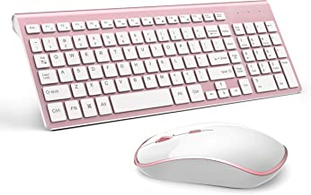 Wireless Keyboard and Mouse Combo, Stylish Compact Full-Size Keyboard and 2400 DPI Stream-line Optical Mouse for PC, Desktop, Computer, Notebook, Laptop, Windows XP/Vista/7/8/10 by JOYACCESS-Pink
