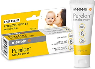 Medela Purelan Lanolin Nipple Cream for Breastfeeding, 100% All Natural Single Ingredient, Hypoallergenic, Soothing Protec...