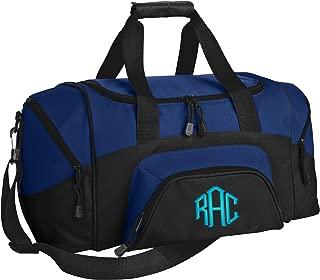 Small Colorblock Sport Duffel Bag | Personalized Monogram/Name Gym Bag (True Royal/Black)