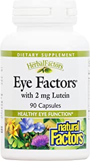 Natural Factors - HerbalFactors Eye Factors with 2mg Lutein, Supports Healthy Eye Function, 90 Capsules