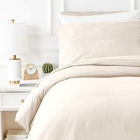 Amazon Basics Parure de lit avec housse de couette en flanelle 140 x 200 cm/65 x 65 cm x 1, Gris