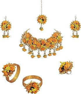Zephyrr - Set di gioielli per donne e ragazze: Haldi Baby Shower, Mehndi Godbharai Gota Patti con collana con maang/tikka/...