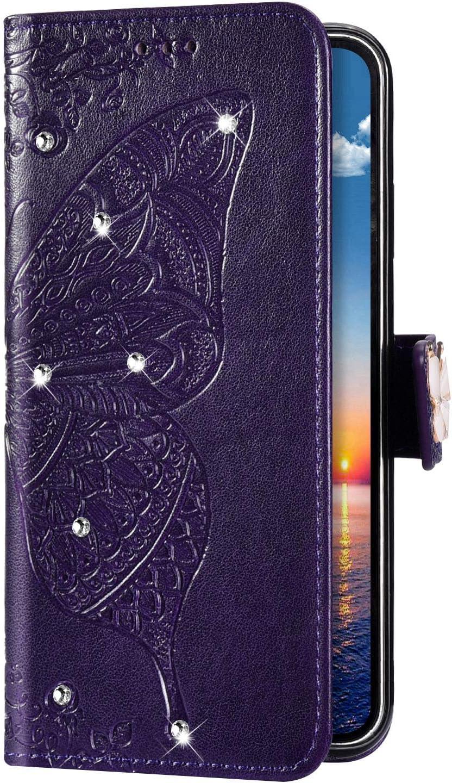 Uposao Kompatibel mit Samsung Galaxy S8 Plus H/ülle Gl/änzend Bling Glitzer Diamant Handyh/ülle Schmetterling Blume Schutzh/ülle Leder H/ülle Klapph/ülle Wallet Flip Case St/änder Kartenf/ächer,Pink