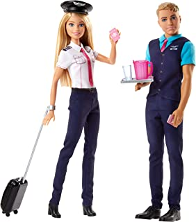 Barbie Pink Passport Ken and Barbie Pilot Doll and Accessory Set - 2 Doll Pack