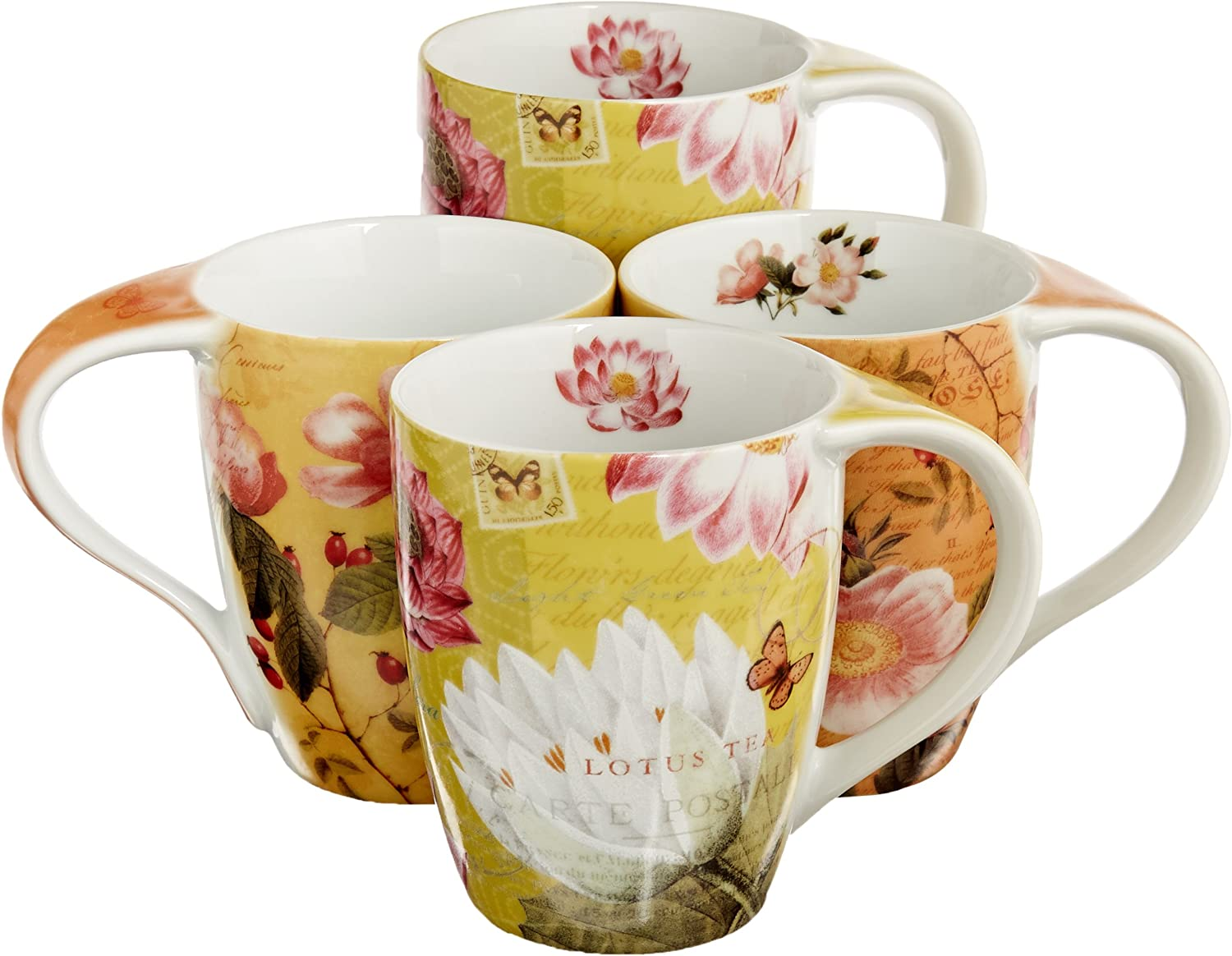 Konitz Lotus and Fruit Tea Mugs of Popular brand Flower 4 Set Special price for a limited time