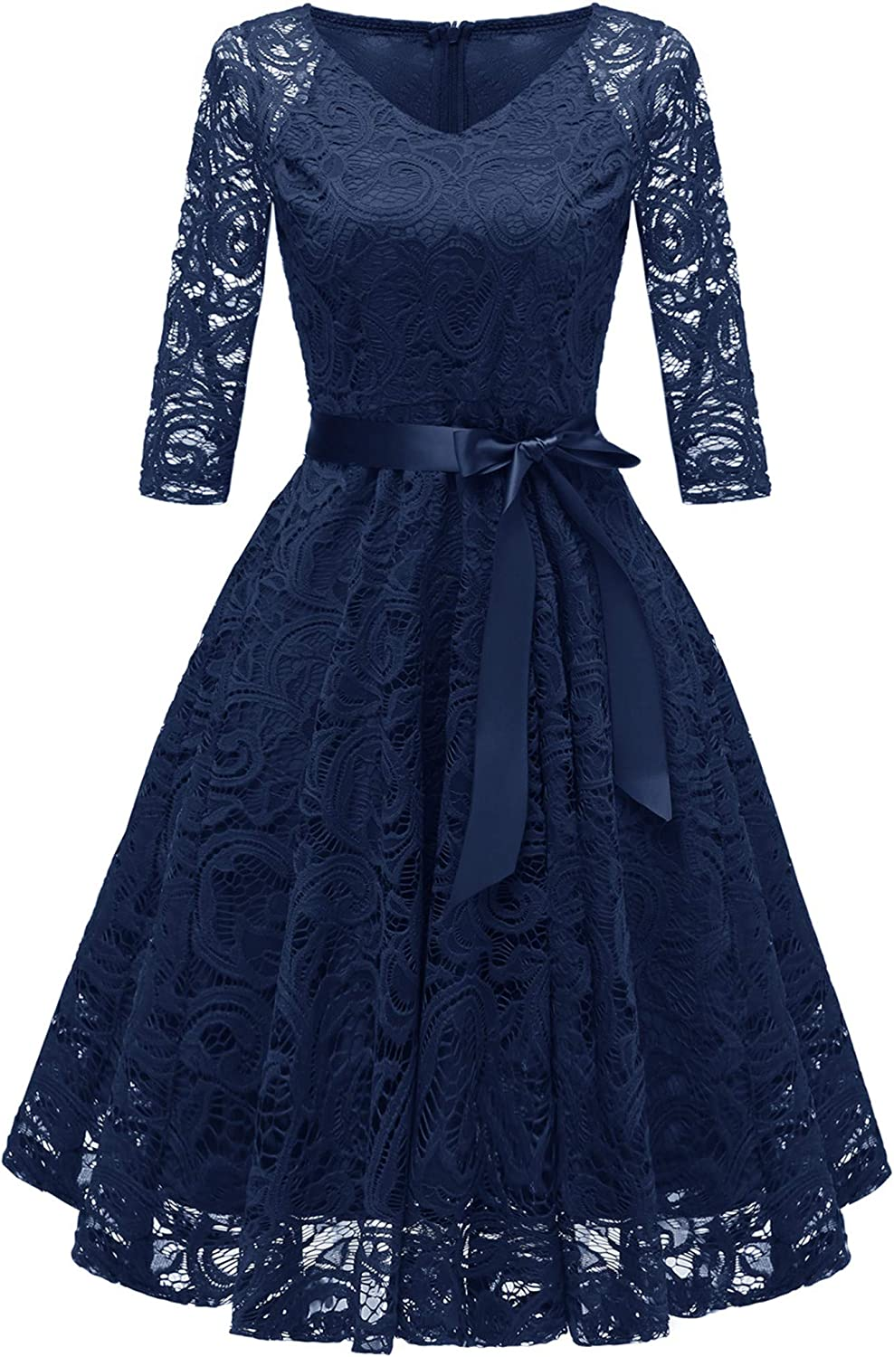 Andongnywell Women's Full Floral Lace Swing Dress A-line Formal Hollow Dress V Neck Bridesmaid Party Midi Dress