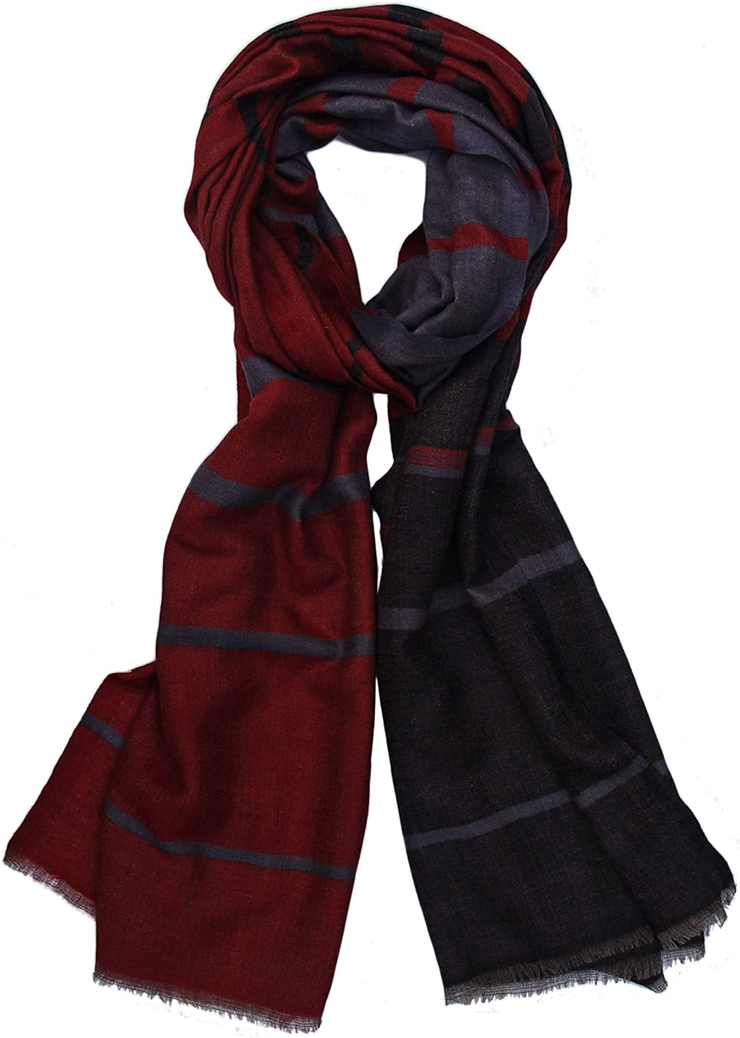 Pure Cashmere Unisex Scarf Wrap Stole Shawl in Check Plaid Stripe Design