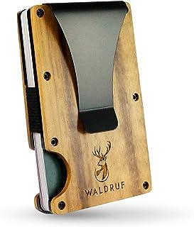 Tarjetero con pinza para billetes para hombre, de madera auténtica, minidaleta con protección RFID, soporte para tarjetas ...