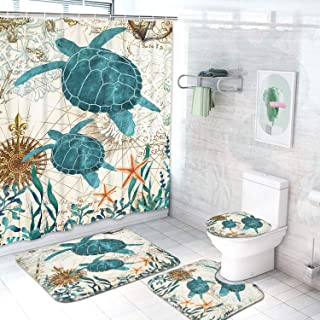 Ikfashoni Sea Turtle Shower Curtain with Non-Slip Rugs Toilet Lid Cover and Bath Mat, Ocean Creature Landscape Bathroom Curtain with 12 Hooks Durable Waterproof Fabric Shower Curtain Sets