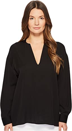 Vince Ruched  Split Neck Blouse