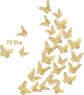 3D Butterfly Wall Stickers, 72Pcs 3 Sizes 3 Styles, Removable Metallic Wall Decals Fridge Sticker Room Mural Decoration fo...