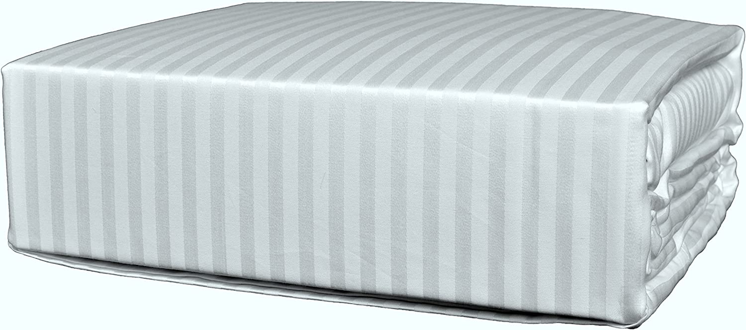 Brielle 630 Thread Count Egyptian Cotton Sateen Premium 600 Plus Duvet Cover, Full Queen, White Stripe