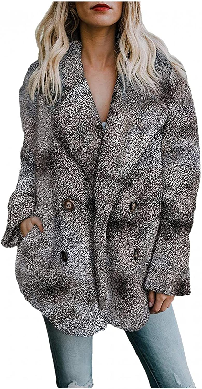 iLUGU Women's Winter Faux Fur Fleece Open Front Cardigan Coat with Pockets Outerwear