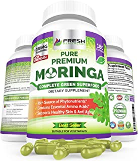 Organic Moringa Powder Capsules by Fresh Healthcare, 180 Non-GMO Vegan Pills, 1000mg Pure Leaf Supplement, 9 Essential Amino Acids, Nutrient-Dense Super Greens, Moringa Oleifera Caps, Bonus E-Book