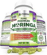 Organic Moringa Powder Capsules by Fresh Healthcare, 180 Non-GMO Vegan Pills, 1000mg Pure Leaf Supplement, 9 Essential Amino Acids, Nutrient-Dense Super Greens, Moringa Oleifera Caps, Bonus E-Book