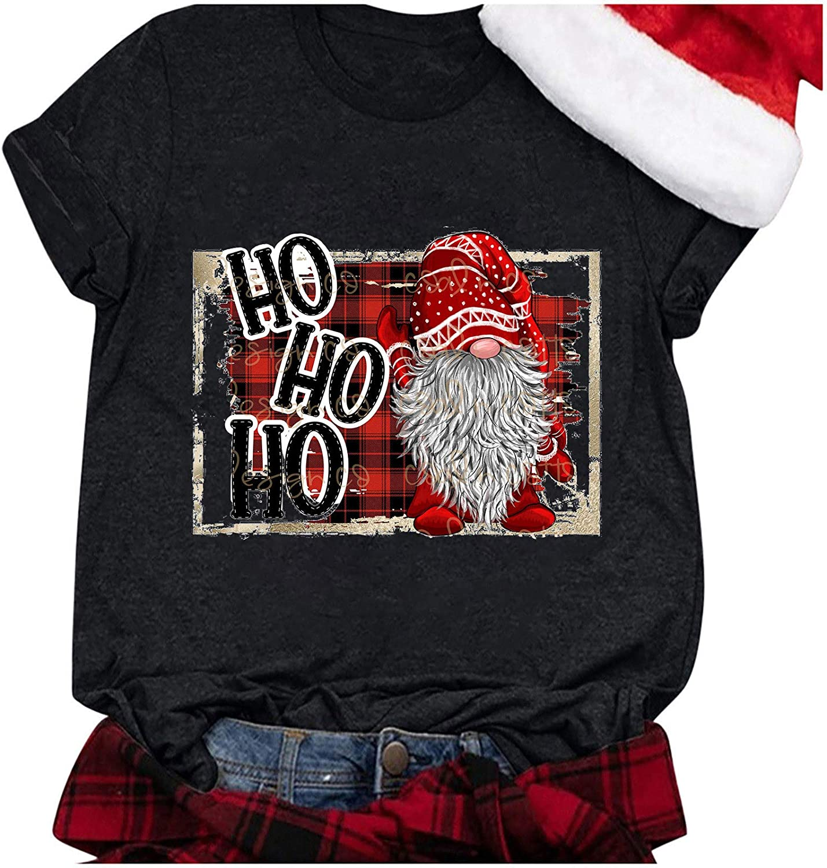 Women Christmas Shirts T-Shirt Funny Printed Short Sleeve Casual Tee Tops