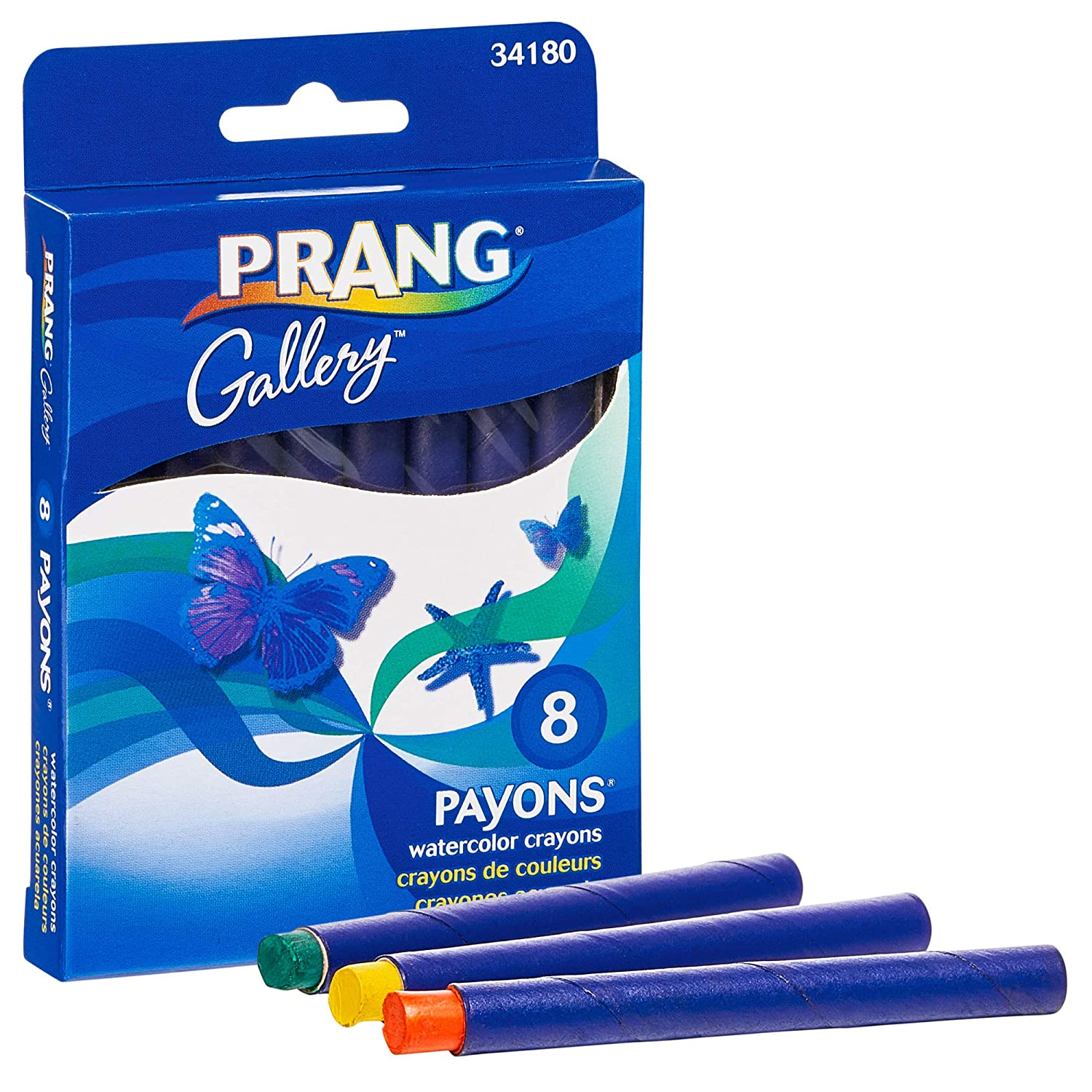 PRANG Payons Watercolor Crayons, Round Sticks, 3.5 x 0.313 Inches, Box of 8 Crayons, 8 Assorted Colors (34180)