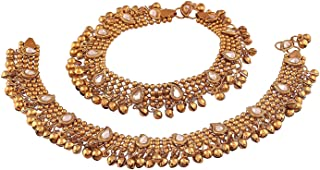 Peora Traditional Gold Plated Kundan Anklet for Girls & Women
