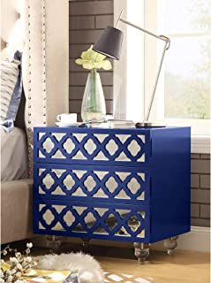 Inspired Home Navy Blue Nightstand - Design: Pablo | 3-Drawer | Side Table | Acrylic Legs | Lacquer Finish