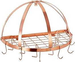Old Dutch Half-Round Pot Rack with Grid & 12 Hooks, Copper, 22