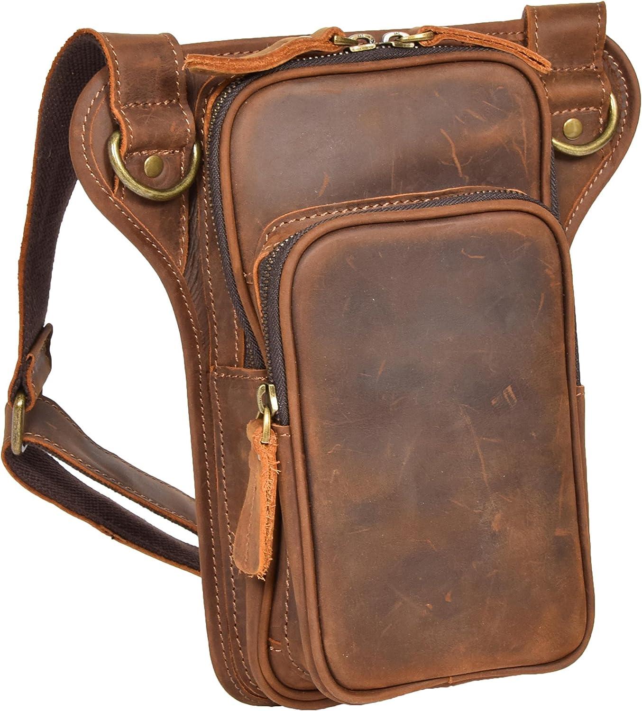 A1 FASHION GOODS Vintage Tan Hunter Leather Shoulder Cross Body Sling Bag Holster Flight Pouch Bern