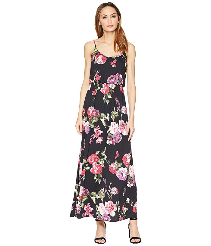 American Rose Darby Spaghetti Strap Floral Maxi Dress (Black/Pink) Women