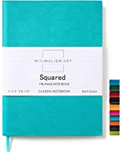 Minimalism Art, Soft Cover Notebook Journal, A5 Size 5.8 X 8.3 inches, Blue, Squared Grid Page, 176 Pages, Fine PU Leather, Premium Thick Paper-100gsm, Ribbon Bookmark, Designed in San Francisco