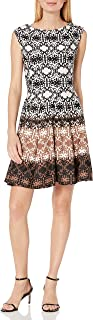 GABBY SKYE Women's Cap Sleeve Round Neck Printed Fit and Flare Dress
