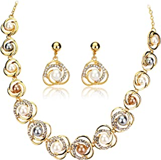 Fashion Gold Tone Faux Pearl Necklace Earring Set