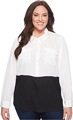 Calvin Klein Plus - Plus Size Color Block Button Down Tunic