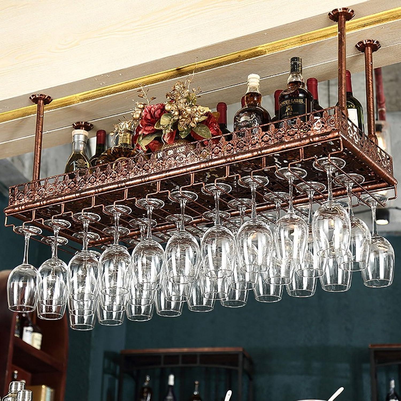 ZJM-wine rack Estante del Estante del Vino del Estante del Vino Colgante Estante del Estante del Vino al revés Color de Bronce Antiguo pensativo pensativo (Tamaño   60cm)