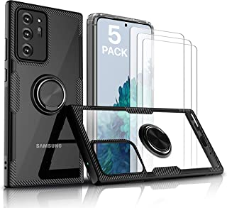 [5 Pack] Samsung S21 Ultra 6.8 Inch (1 Black Ring Case, 1 Clear Case, 3 Tempered Glass Protector)