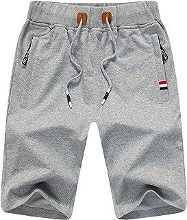 JustSun Mens Shorts Casual Sports Joggers Shorts with Elastic Waist Zipper Pockets