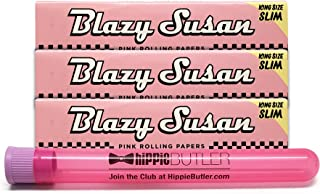 Blazy Susan Pink Rolling Papers King Size Slim (3 Packs) with Hippie Butler XL Kewltube