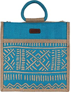 "ECOTARA Elegant""Madhubani"" Hand Print 100% Natural Eco-friendly Jute Lunch Bag/Handbag"