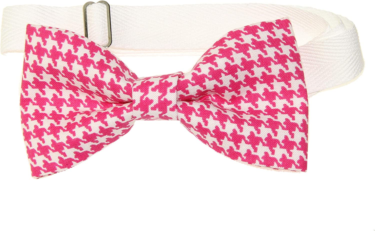 Men's Pink/White Houndstooth Pre-Tied Adjustable Cotton Bow Tie