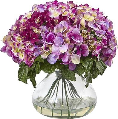 Nearly Natural 1387-BU Hydrangea with Large Vase