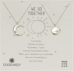 Dogeared We Go Together, Crecent and Star Disc with Crystal Set of 2 Necklaces