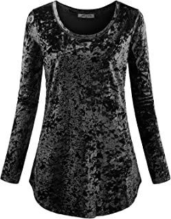 Women's Casual Long Sleeve Crew Neck Form Fitting Velvet Vintage Tunic Top(FBA)