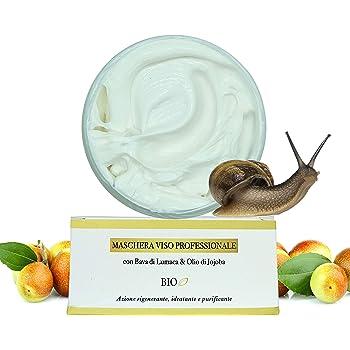 Maschera Viso Idratante BIO Antirughe 100% VEGETALE all'Olio di Jojoba & Bava di Lumaca - Maschera Purificante Dermatologicamente Testata 100ML Made in Italy