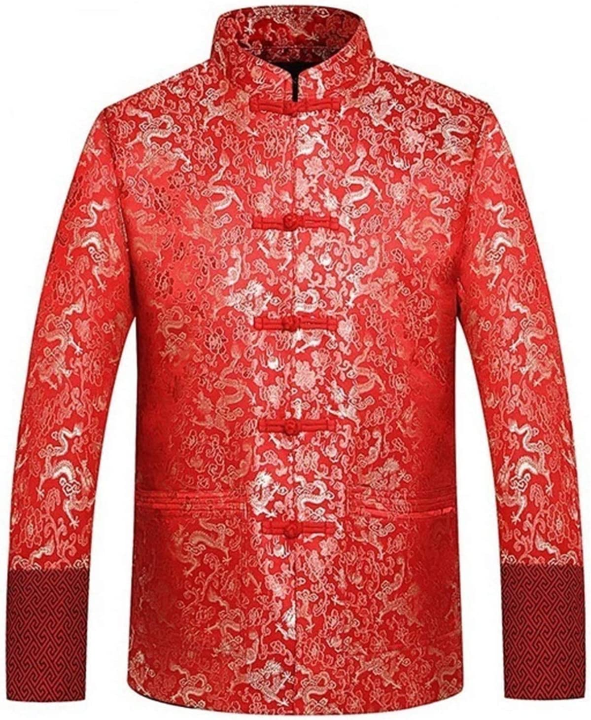 Furunke Traditional Chinese Clothing Tang Suit Wedding Jacket Red Silk Jacket Men Autumn Dragon Cheongsam Tops Plus Size 4XL (Color : J 1065 Red, Size : XXXL)