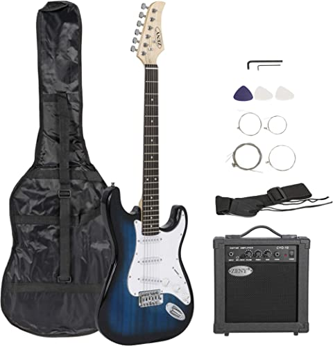 """ZENY 39"""" Full Size Electric Guitar with Amp, Case and Accessories Pack Beginner Starter Package, Blue Ideal Christmas..."""