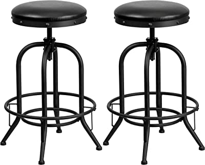 A Line Furniture Nostalgic Black Leather Seat Swivel Adjustable Barstools 2 Stools